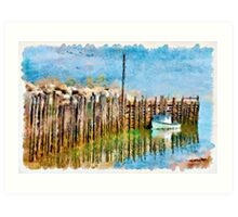 Margaretsville Wharf - watercolour Art Print