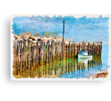 Margaretsville Wharf - watercolour Canvas Print