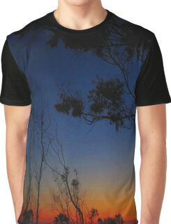 Trees in Orange and Blue Sunset Graphic T-Shirt