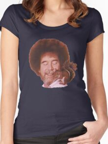 Bob Ross Loves All God's Creatures Women's Fitted Scoop T-Shirt