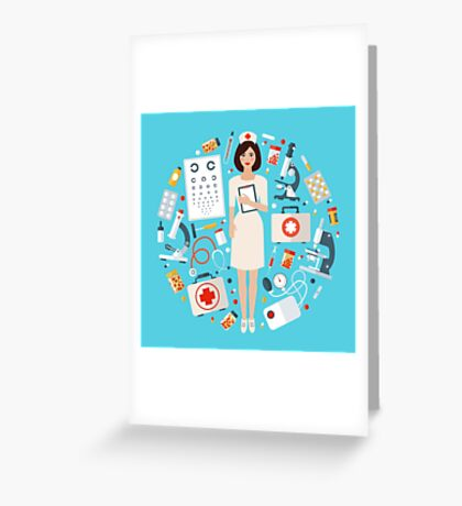 Nurse with Medical Icons Set. Health Care Stuff Greeting Card