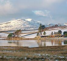 First Snow on Trawsfynydd Lake North Wales UK by AnnDixon