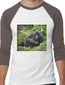 young mountain gorilla, BwindiUganda Men's Baseball ¾ T-Shirt