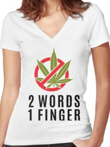 Marijuana Cannabis Weed Funny Women's Fitted V-Neck T-Shirt