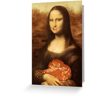 Mona Lisa Loves Valentine Candy Greeting Card
