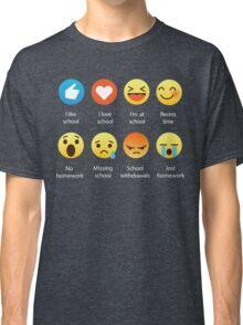 I Love School Emoji Emoticon Graphic Tee Funny Teacher Student Shirt Classic T-Shirt