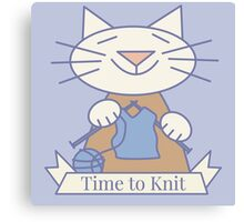 Time to Knit Cat Canvas Print