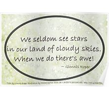 Cloudy Sky Star haiku, oval  Poster