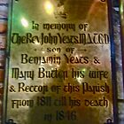 Memorial Plaque for Rev. John Yeats, St. Columba's Church, Drumcliffe, Ireland by Shulie1