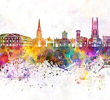 Derby skyline in watercolor background by paulrommer
