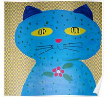 Cat in Blue Poster