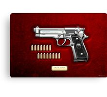 Beretta 92FS Inox over Red Velvet  Canvas Print