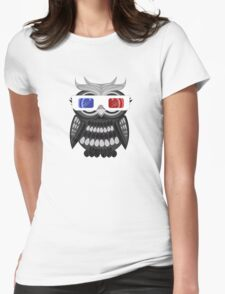 Owl - 3D Glasses - Black Womens Fitted T-Shirt