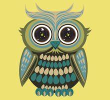 Star Eye Owl - Green 2 Kids Clothes