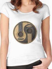 Bass Guitar T Shirt - Music Pulse, Notes, Clef, Frequency, Wave, Sound, Dance Women's Fitted Scoop T-Shirt
