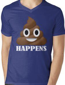 Shit Happens Poop Emoji T-shirt Funny Face Emoticon T-Shirt Mens V-Neck T-Shirt