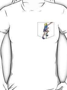 Rock Climbing Girl on Fake Pocket T-Shirt