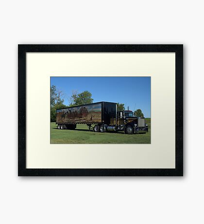 1973 Kenworth W900 Black and Gold Semi Truck Framed Print