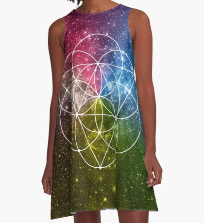 Seed of Life with Triangles - Sacred Geometry - Rainbow Colors - Galaxy Art - Universe - Yoga - A-Line Dress