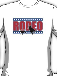 Rodeo Theme - Calf Roping Silhouette (Red, White & Blue) T-Shirt