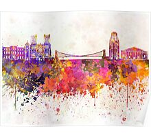 Bristol skyline in watercolor background Poster