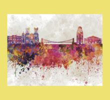 Bristol skyline in watercolor background Kids Clothes