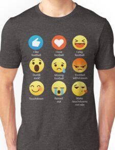 I Love Football Emoji Emoticon Funny Sports Teams Graphic Tee Shirts Fans Unisex T-Shirt