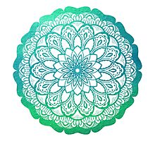Mandala in Turquoise Green Watercolor Photographic Print
