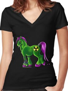 Radioactive Pony Women's Fitted V-Neck T-Shirt