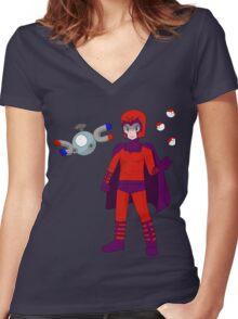 Magneto & Magnemite Women's Fitted V-Neck T-Shirt