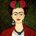 Frida Kahlo portrait with dalias closer by Madalena Lobao-Tello