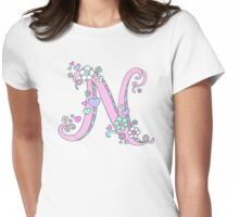 Letter N drawing doodle monogram art Womens Fitted T-Shirt