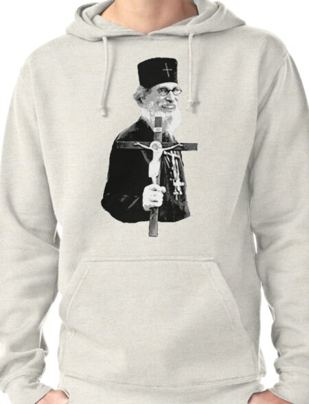 Brother Nathanael: Holding the Cross Pullover Hoodie