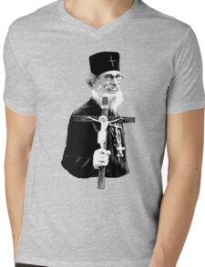 Brother Nathanael: Holding the Cross Mens V-Neck T-Shirt
