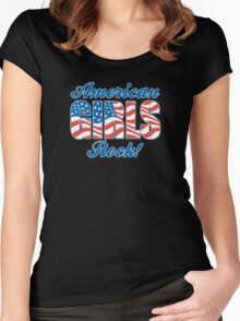American Girls Rock! - Red, White & Blue Graphic Women's Fitted Scoop T-Shirt