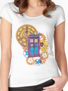 Colorful TARDIS Doctor Who Art Women's Fitted Scoop T-Shirt