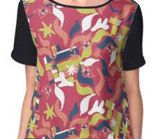 Abstract Artwork in Red and Green Chiffon Top