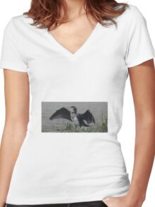 Cormorant drying its wings. Women's Fitted V-Neck T-Shirt