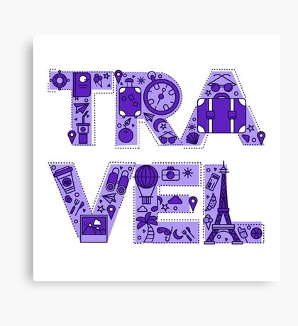 Time to Travel. Retro Lettering with Outline Style Travelling Elements Canvas Print