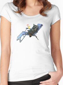 Summer Vacation Raccoon Women's Fitted Scoop T-Shirt