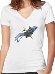 Summer Vacation Raccoon Women's Fitted V-Neck T-Shirt