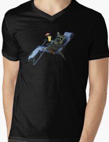 Summer Vacation Raccoon Mens V-Neck T-Shirt