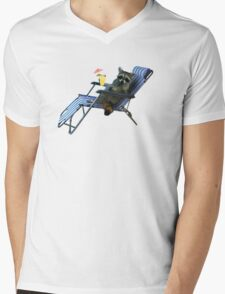 Summer Vacation Raccoon Mens V-Neck T-Shirt