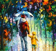 RAINY WALK WITH DADDY - Leonid Afremov by Leonid Afremov