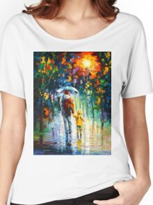 RAINY WALK WITH DADDY - Leonid Afremov Women's Relaxed Fit T-Shirt