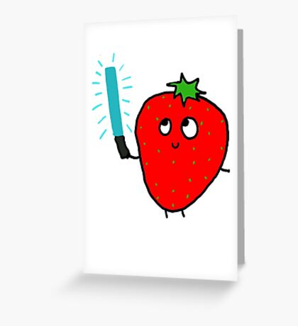 Strawberry and the lightsaber Greeting Card
