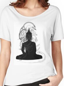Buddha Line Drawing Black White Vector  Women's Relaxed Fit T-Shirt