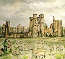 Plein Air Painting At Cowdray House Ruins Sussex by AngieDavies
