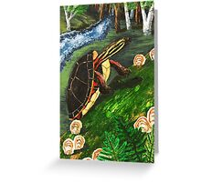 Painted Turtle on Moss Covered Log Greeting Card