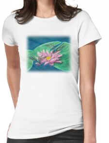 Dragonflies On Water Lily Womens Fitted T-Shirt